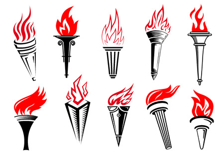 Flaming torches icons set with red flame and black handle for sports and peace concept design