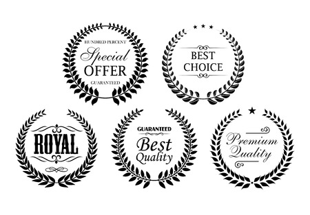 seal: Product or company promotion icons with laurel wreaths, stars and text Royal, Best Choice, Premium Quality, Special Offer