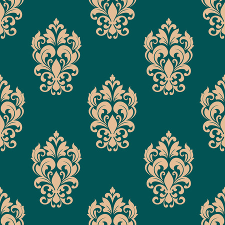 scroll tracery: Floral seamless pattern design in victorian style for luxury wallpaper or textile with beige flowers on green background Illustration