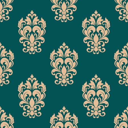 endlos: Nahtloses Muster-Design im viktorianischen Stil für Luxus Tapeten oder Textilien mit beige Blumen auf grünem Hintergrund
