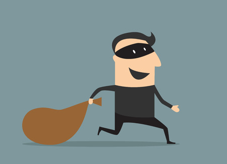 loot: Cartooned thief in black mask and costume running away from the pursuit dragging sack with loot Illustration