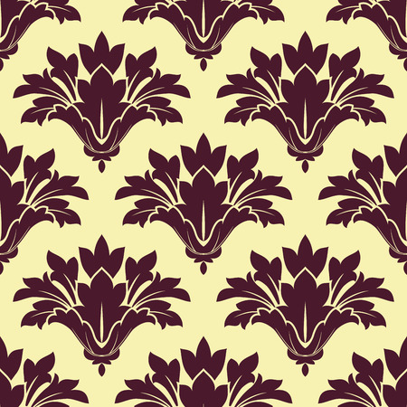 adornment: Purple cornflowers on beige background seamless pattern in a damask style for textile and fabric design Illustration
