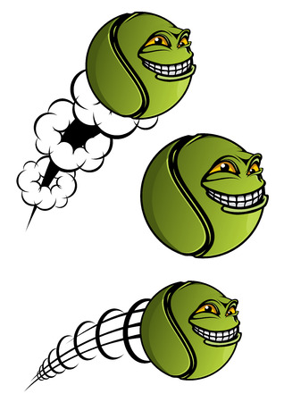 spiteful: Green spiteful cartoon tennis ball with evil grin and motion trails as symbol or mascot design for sport club or team mascots
