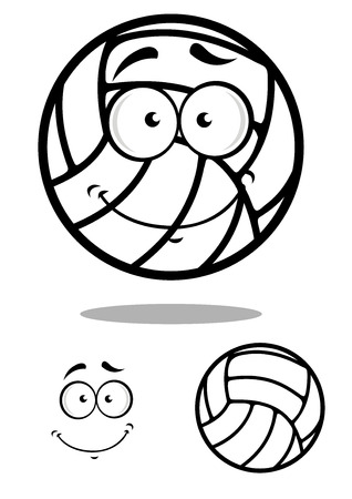 cartooned: Volleyball ball cartooned character with shy smile and shadow isolated on white for sports design Illustration