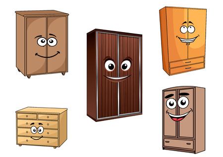 furniture shop: Wooden bedroom cupboards set in cartoon style with cheerful faces and friendly smile for furniture shop and interior design