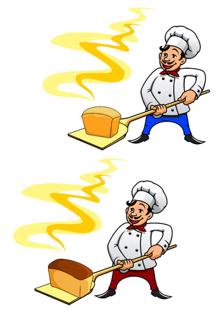 mustached: Joyful mustached baker in uniform and toque holding a loaf of hot bread on peel tool