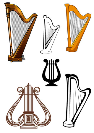 lyre: Harps ans lyres stringed musical instruments set isolated on white background for art and music design