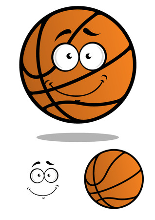 Orange friendly smiling basketball ball character with smiling face isolated on white background for sports or mascot design Vector