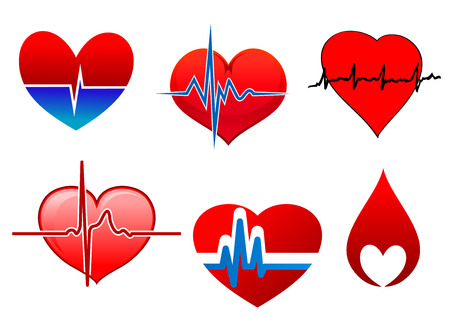 blood line: Cardiology icons with bright beating red hearts. One of them in a drop of blood and the other part with cardioid line of cardiogram Illustration