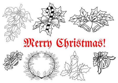 decorations wreaths: Christmas and New Year traditional decorations in outline style with wreaths, candles, branches, candies, balls and text Merry Christmas