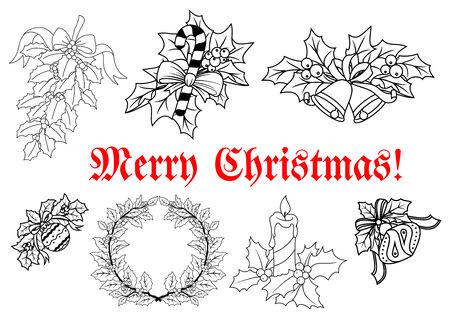 coronas de navidad: Navidad y año nuevo decoraciones tradicionales en estilo de esquema con guirnaldas, velas, ramas, caramelos, pelotas y texto Feliz Navidad