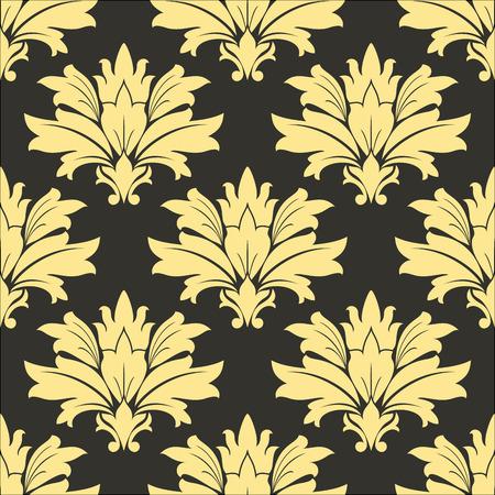 endlos: Damast-Gelb-nahtloses Retro-Muster auf einem dunklen braunen Hintergrund für Innen Tapeten und Stoffmuster