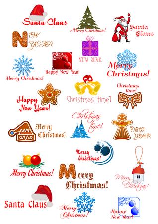 casita de dulces: Navidad y Año Nuevo con elementos de diseño tradicional de Papá Noel, el árbol de Navidad, bolas, pan de jengibre, copos de nieve y desea Feliz Año Nuevo y Feliz Navidad