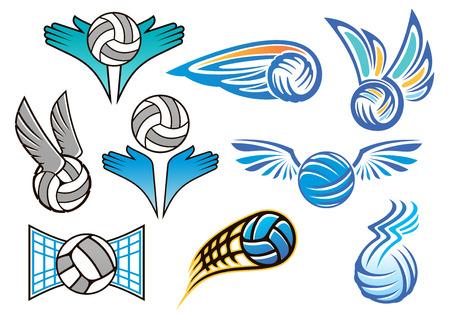 volleyball serve: Sporting emblemas de voleibol y dise�os con alas de �ngel, gente manos y volar pelotas de voleibol