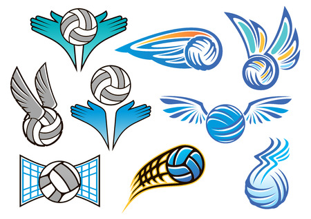 volleyball serve: Sporting volleyball emblems and designs with angel wings, people hands and flying volleyball balls