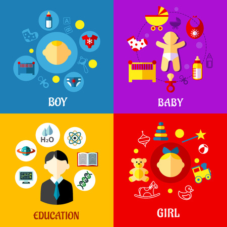 Flat design concept for growing up child from newborn to pupil with newborn, babies and school surrounded childish and education symbols Vector