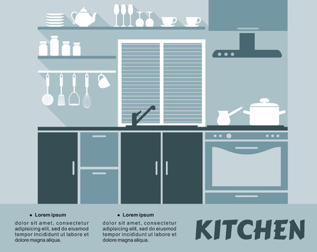 cupboards: Flat blue  kitchen interior design with shelves, cupboards, oven, extractor hood and kitchenware