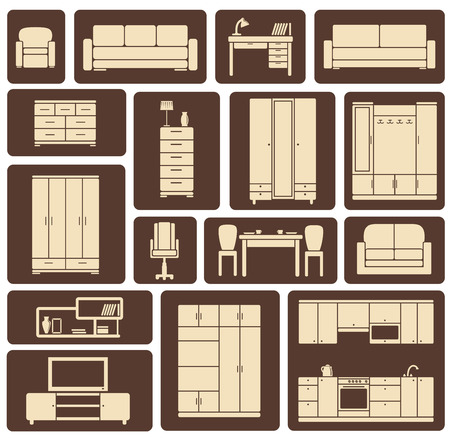 Modern beige furniture and interior items icons including wardrobe, sofa, shelves, tables in flat style for living room, kitchen, dining room and lounge design Vector