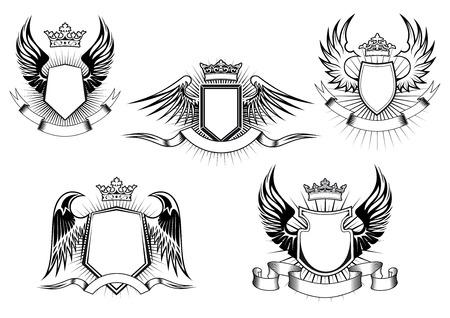 Escudo real heráldico de armas y escudos con coronas adornadas, alas, banderas de la cinta y los rayos de luz sobre fondo blanco