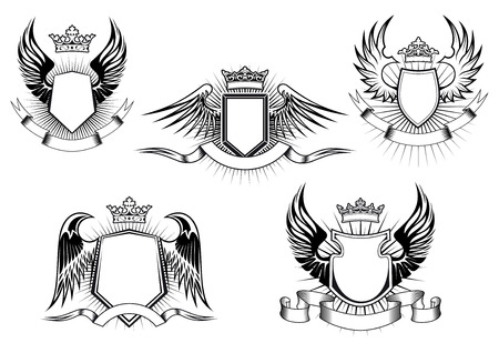 Heraldic royal coat of arms and shields with ornate crowns, wings, ribbon banners and light rays on white background Illustration