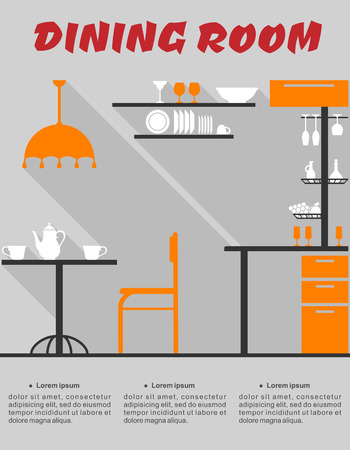 bar chair: Flat design interior of minimalist modern dining room with bar, chair, lampshade, table, shelves, dishes and text Dining Room Illustration
