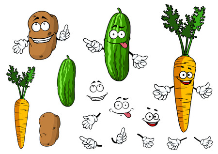 raw potato: Funny colorful cartoon cucumber, carrot and potato character with funny faces for health food, nutrition or another design isolated on white background