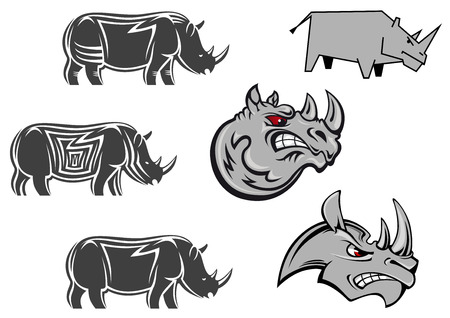 Aggressive cartoon rhino mascots with red eyes and terrifying grin for sport emblem or tattoo design Vector