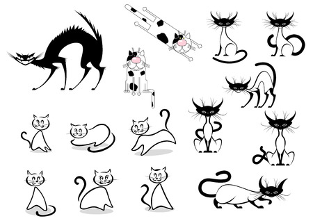 Cartoon cats characters with black, siamese and dotted cats in various poses and different activities on white background