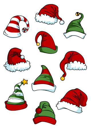 red hat: Clown, joker and Santa Claus cartoon hats set isolated on white for seasonal or comics design