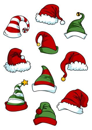 Clown, joker and Santa Claus cartoon hats set isolated on white for seasonal or comics design