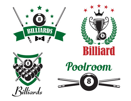pool cue: Billiards, snooker and pool game emblems Illustration