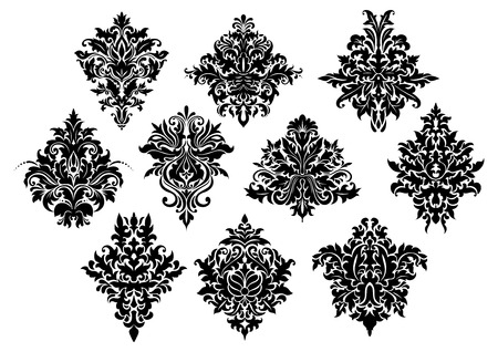 Black curlicue flowers and floral motifs in damask style isolated on white background