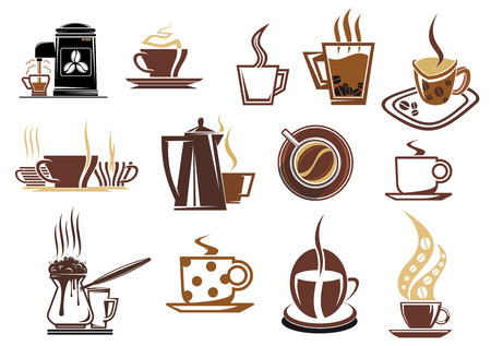 coffee machine: Coffee icons for cafe and restaurant menu with varied cups of coffee, espresso, cappuccino, coffee beans, pot and coffee machine in brown and beige colors