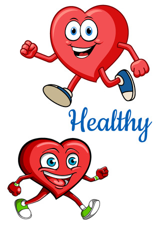 exercises: Health concept for cardiology and healthcare design with red cartoon jogging smiling heart characters with blue caption Healthy