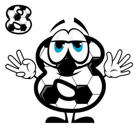 numeration: Cute cartoon number eight character coloring like football or soccer ball showing 8 fingers for sport competition design