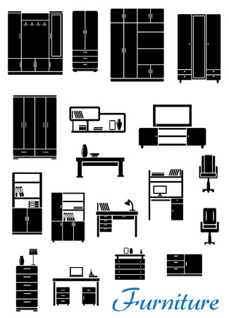 Black case furniture in flat style with cupboards, armchairs, bookshelves, tables, cabinets for office and residential interior design Vector