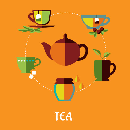 Flat tea concept in warm colors with teapot surrounded different shapes cups of tea with tea bags, jar of honey, sugar cubes and green leaves isolated on orange background Vector