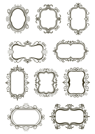 curlicue: Retro floral borders and frames with curlicue decoration in victorian style, space for text or photo, isolated on white background