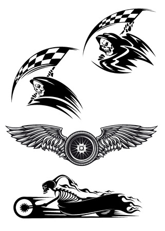 Tribal motocross mascot or tattoo design with skeleton on motorcycle with billowing flames, wings with wheel and demon in the hood holding checkered flag Vector