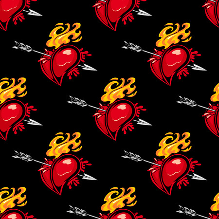 Seamless pattern with hearts and arrows in retro style for love concept design Vector