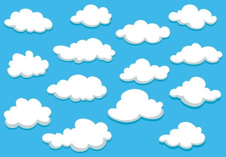 cielo azul: Mullidas nubes blancas en el cielo azul de primavera en estilo de dibujos animados para el fondo o fondos de escritorio de dise�o