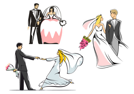 bride groom silhouette: Elegant brides in wedding dresses and veils with bouquets and handsome grooms in tuxedos for wedding ceremony decoration or invitation design
