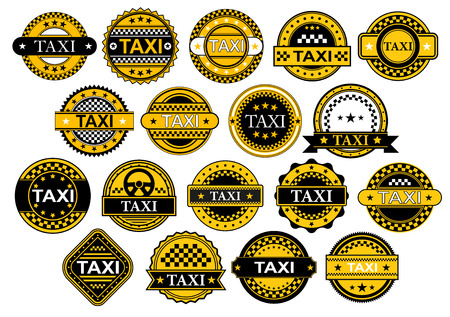 Labels, banners or emblems for taxi and public transportation service in checkered yellow and black colors with stars and text Taxi in retro style Vector