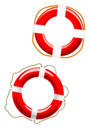 buoyant: Red and white glossy life buoys with different ways of fixing for nautical design