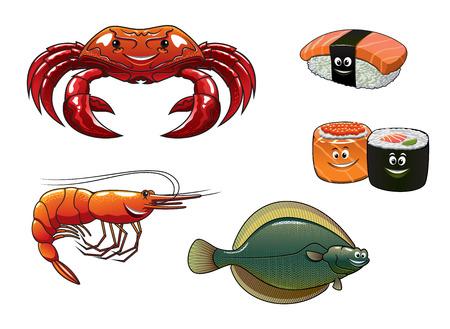 flounder: Cartoon colorful shrimp, crab, flounder fish, sushi nigiri and rolls for seafood restaurant menu and gastronomy design