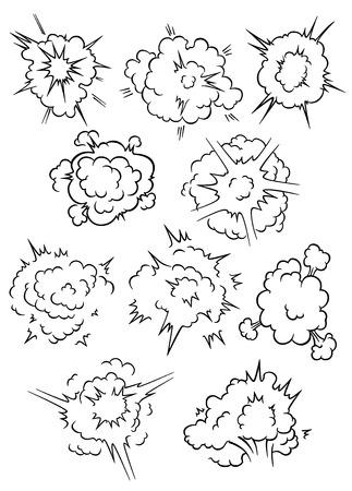 blast: Cartoon comics explosion, bubbles and blast clouds elements