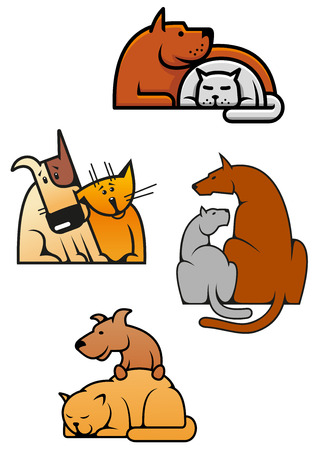 Veterinary service or pet shop emblems with cartoon cat and dog pets characters