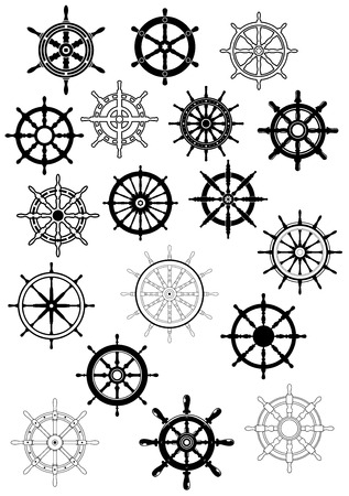 helm: Ship steering wheels in retro style for nautical and heraldic design