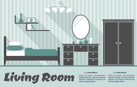 Wohnzimmer Retro-Interieur Flachinfografik Vorlage Mit Gestreifte ...