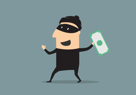 stolen: Excited smiling cartoon thief in black mask and costume holding a stolen dollar banknote, flat style Illustration